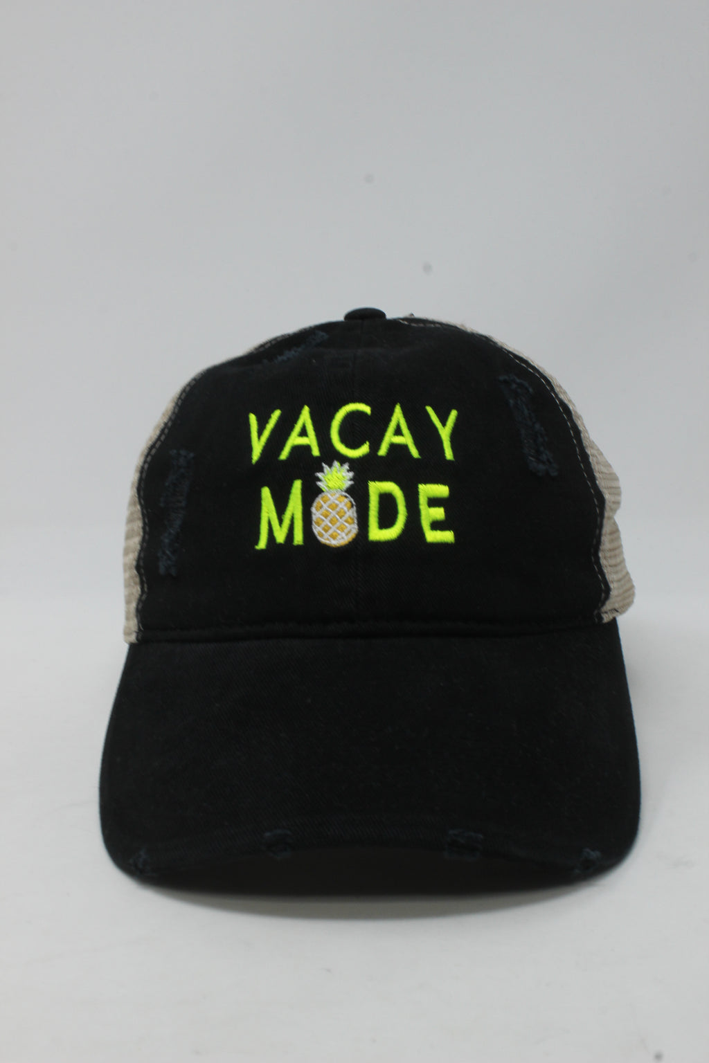 "LCAPM981 - ""Vacay Mode"" Embroidery Distressed Mesh Back - David and Young Fashion Accessories"