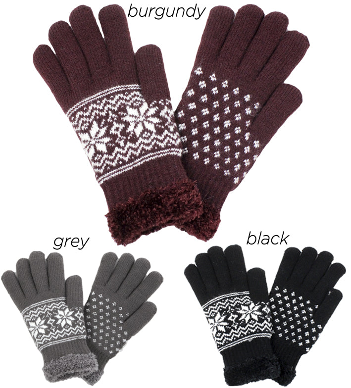 PTGL1160 - Snowflake Cozy Gloves W/ Chenille Lining