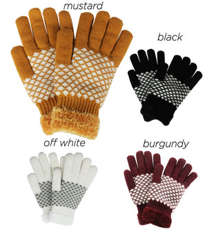 PTGL1182 - Diamond knit cozy gloves  w/chenille lining - David and Young Fashion Accessories