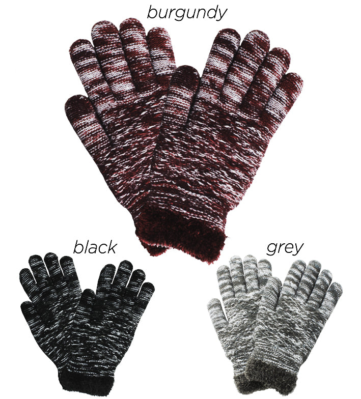 PTGL8140 - Space dye diamond knit cozy gloves w/chenille lining