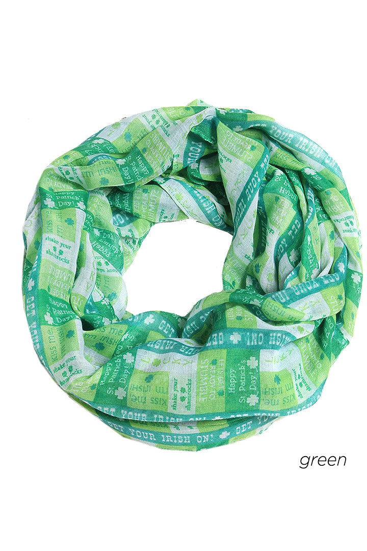 "PTINF08814 - St. Patrick's Day Multi Phrase Loop Scarf 30""x70"" - David and Young Fashion Accessories"
