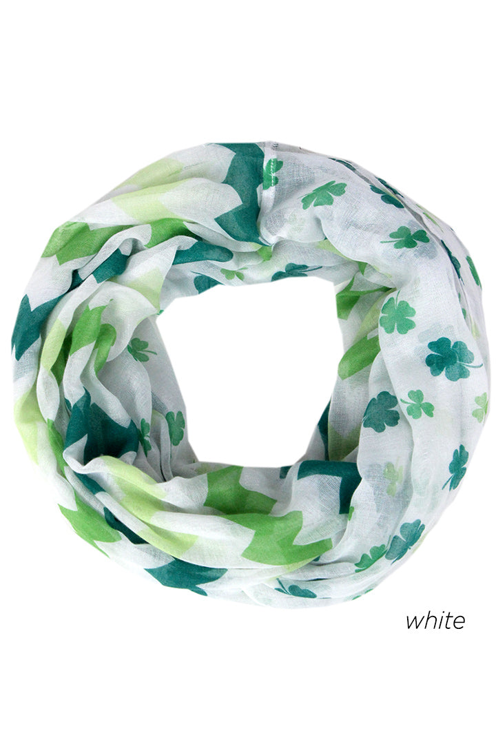 PTINF8006 - Shamrocks & Chevron Infinty Scarf 30 x 70 - David and Young Fashion Accessories