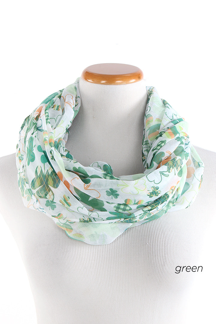 PTINF901 - Multi Pattern Shamrocks Infinity Scarf 30x70 - David and Young Fashion Accessories