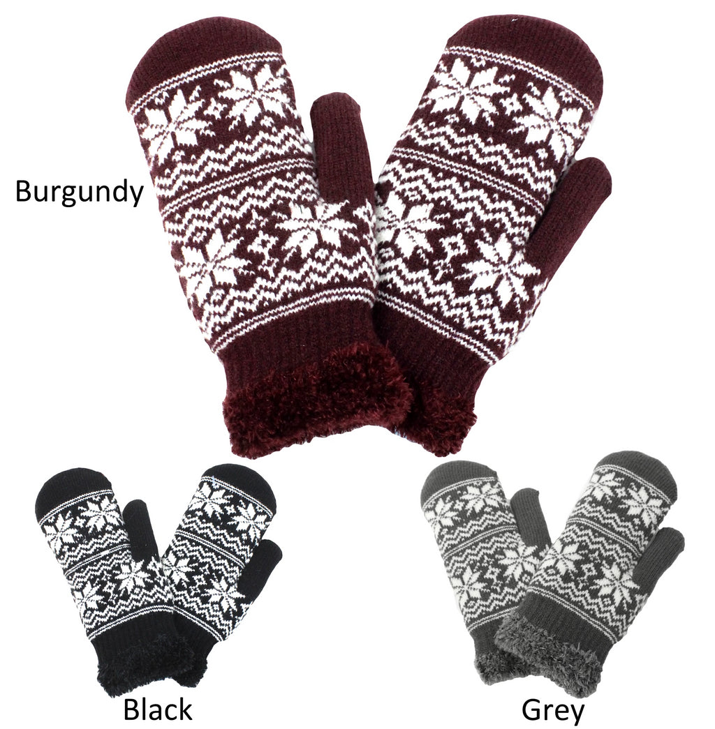 PTMT2160 - Snowflake Cozy Mittens with Chenille Lining