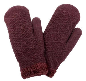 PTMT8104 - Solid Cable Knit Mittens with Chenille Lining - David and Young Fashion Accessories