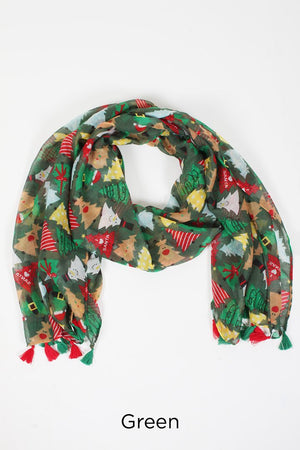 PTPSF03578 - Decorated Christmas Trees Oblong Scarf - David and Young Fashion Accessories