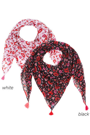 "PTPSFQ07004 - Hearts and Lips Scarf 42""x42"" - David and Young Fashion Accessories"