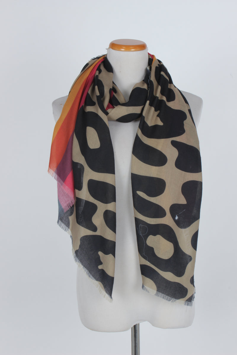 PTSF1112 - Leopard Animal Print with Stripes Scarf - David and Young Fashion Accessories
