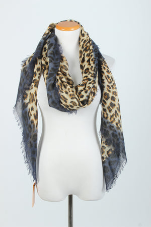 PTSF3132 - Leopard Print Scarf with Self Fringe - David and Young Fashion Accessories