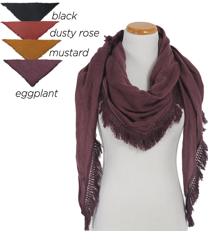 "PTSFTRW2019 - Solid Textured Triangle Scarf With Tassels ""48X48X76"" - David and Young Fashion Accessories"