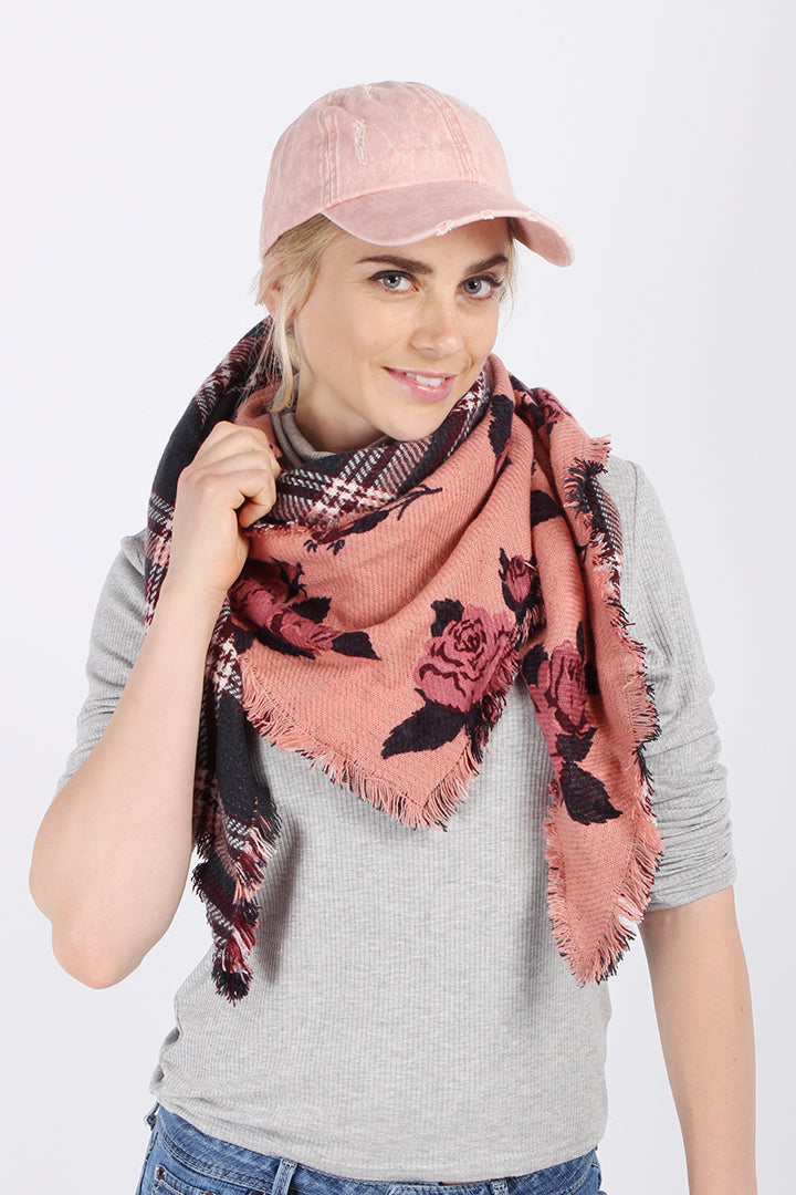PTSFTRW3007 - Plaid And Floral Reversiable Triangle Scarf - David and Young Fashion Accessories