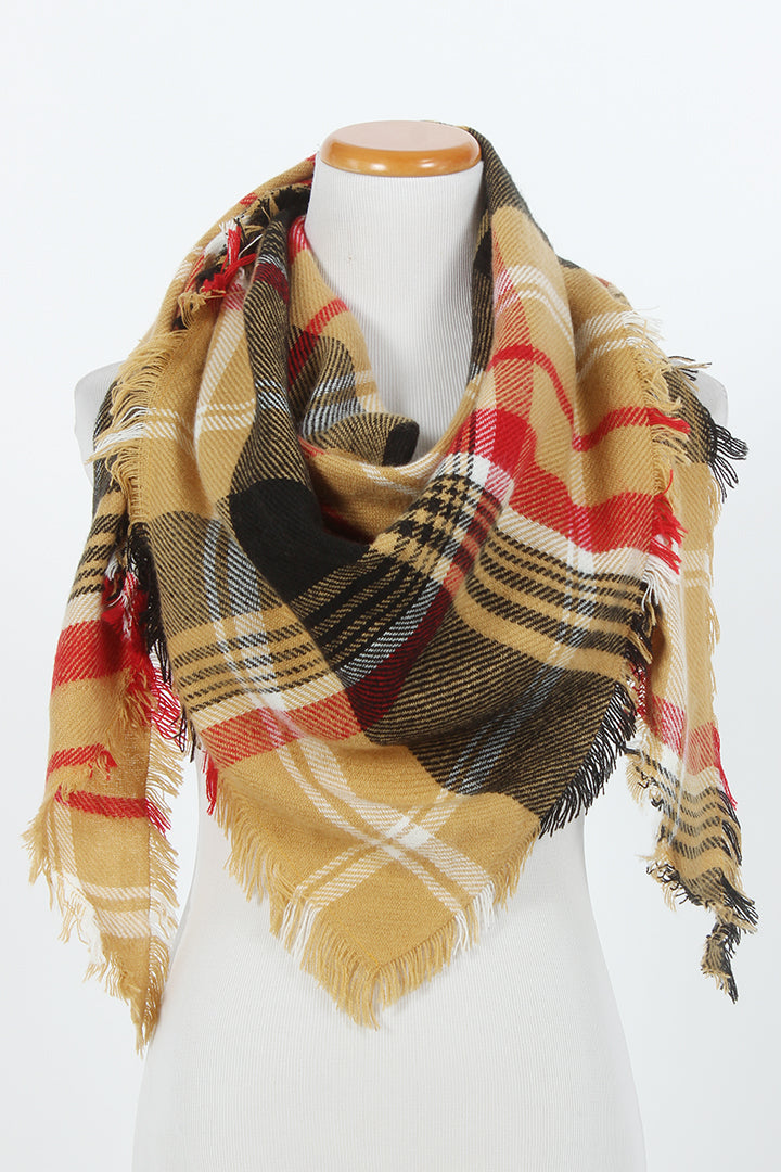 PTSFTRW4011 - Plaid Triangle Scarf - David and Young Fashion Accessories