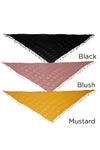 PTSFTRW820 - Solid Woven Triangle W/Fringes - David and Young Fashion Accessories