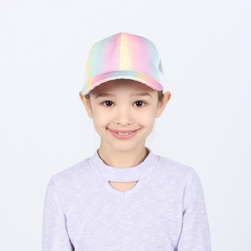 JRFWH11 - Rainbow Glitter Kids Mesh Back Ponyflo Cap - David and Young Fashion Accessories