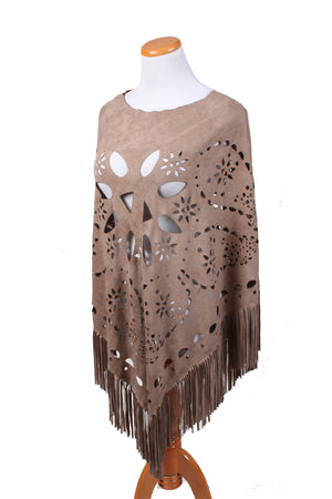 "SAOP82081 - Die Cut Paisley Faux Suede Shawl W/Self Fringe ""27X27+6F"" - David and Young Fashion Accessories"