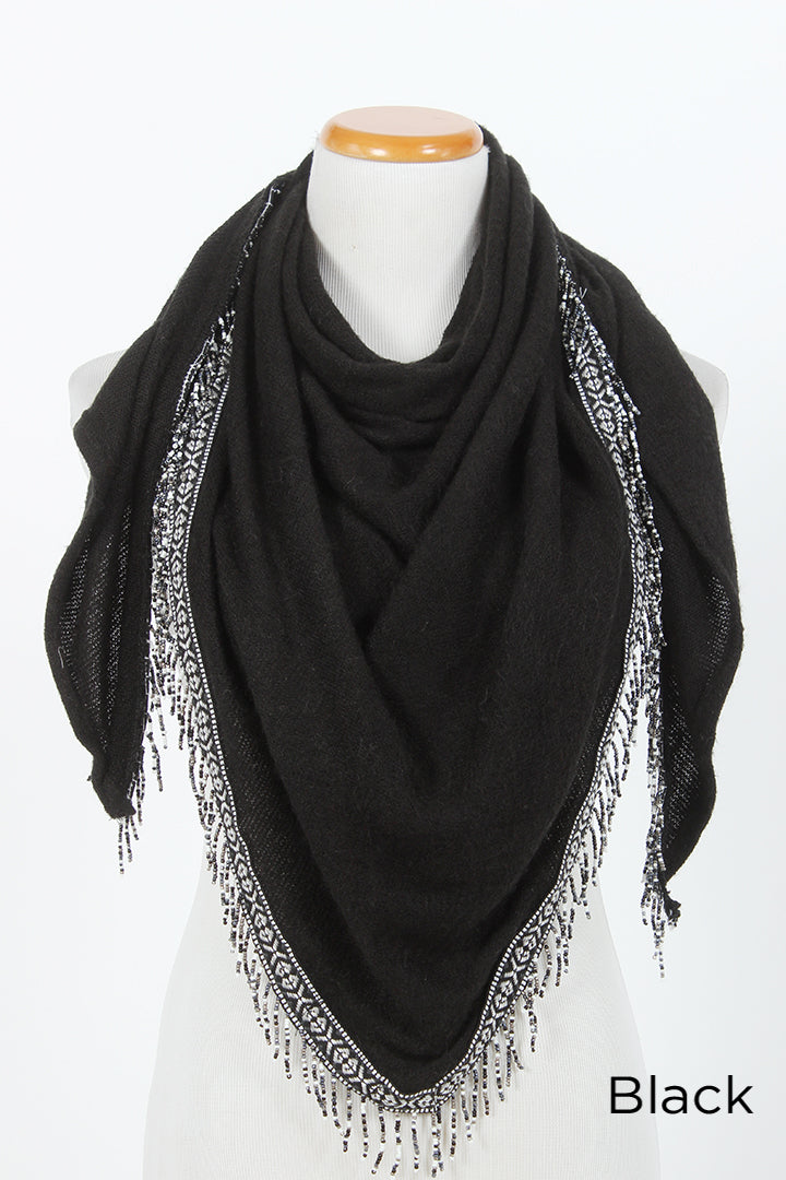 SASFTRK81991 - Lightweight Knit Scarf withWoven Tribal Taping & Fringe Border - David and Young Fashion Accessories