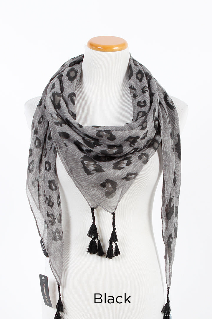 "SGSFQ11748 - Multi Scale Leopard Print Scarf With Tassels ""50X50"" - David and Young Fashion Accessories"