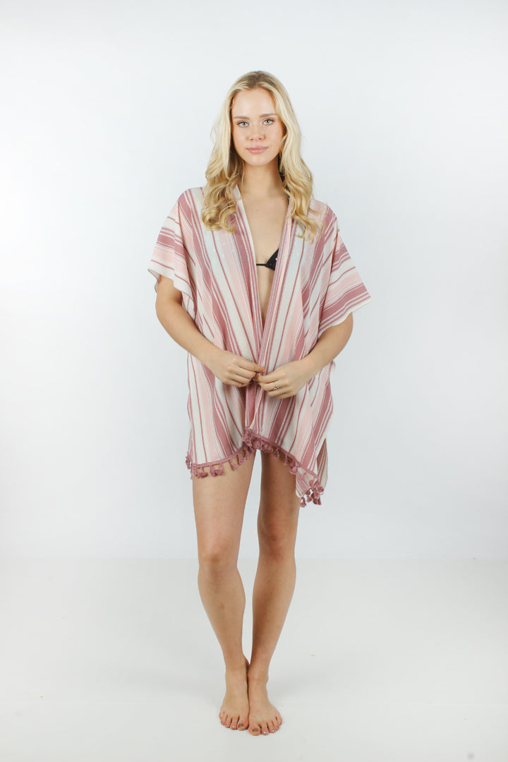 "SGTO1018 - Striped Shawl with Tassels ""35x59"" - David and Young Fashion Accessories"