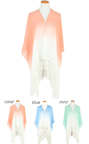 "SGTO827 - Ombre Woven Shawl with Long Tassels 47"" x 55"" - David and Young Fashion Accessories"