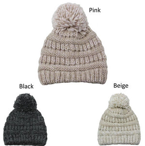 TFBB19131 - Space dye chunky yarn halo beanie with self pom - David and Young Fashion Accessories