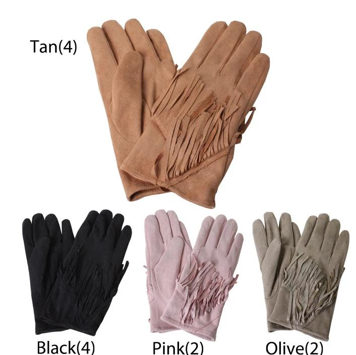 TGL20231 - Faux Suede Glove with Fringes (Sold by 12pcs assorted pack)