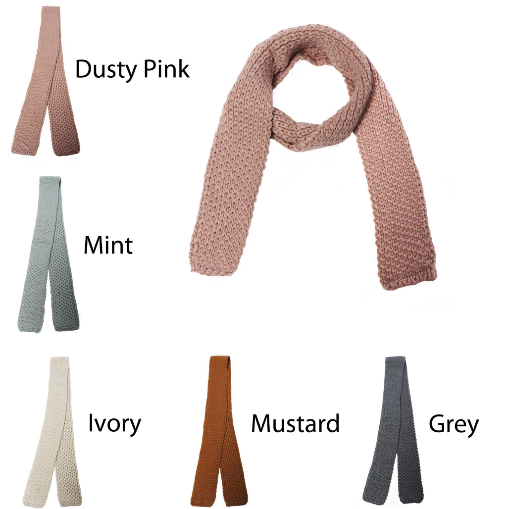 "TSFK1621 - Solid Skinny Knit Scarf ""3X56"" - David and Young Fashion Accessories"