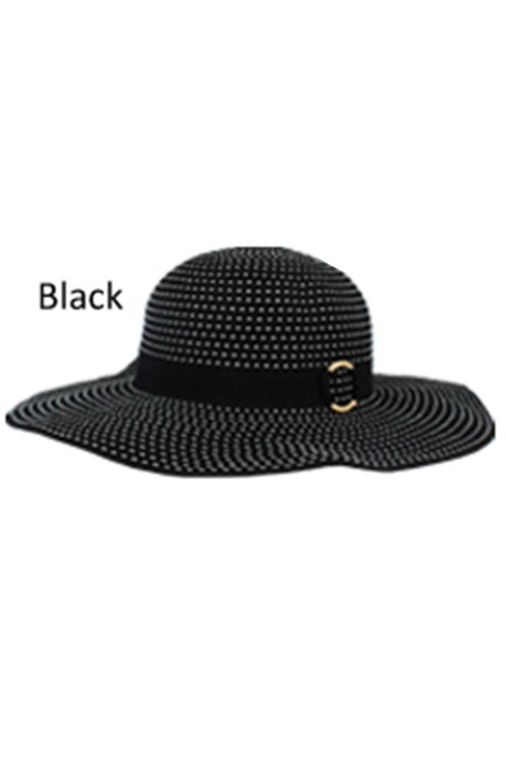 JCFP3977 - Pic Stitch Ribbon Hat with Metal Buckle Band - David and Young Fashion Accessories