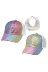 JRFWH12 - Multi-Color Glitter Kids Mesh Back Ponyflo Cap - David and Young Fashion Accessories