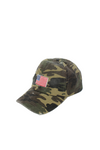 FWCAP126 - Distressed Camo Baseball Cap with American Flag Embroidery - David and Young Fashion Accessories