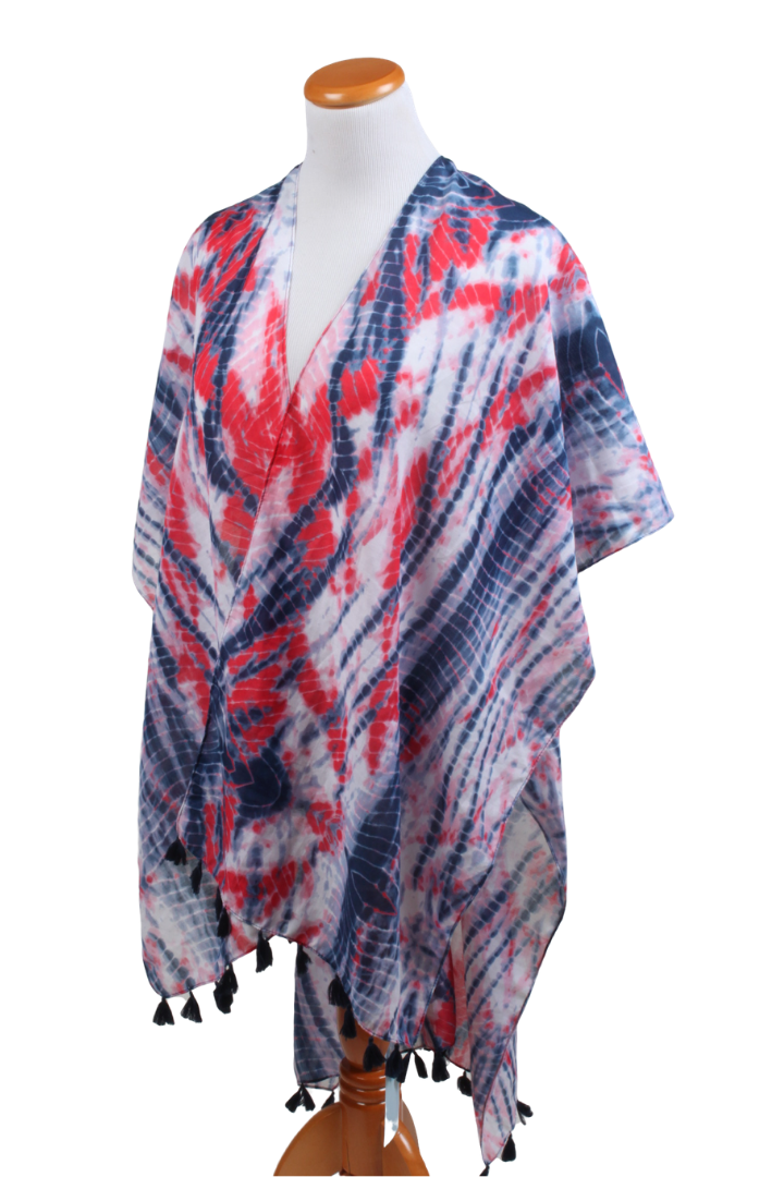 SRTO0074 - Red, White, and Blue Americana Tie Dye Shawl - David and Young Fashion Accessories