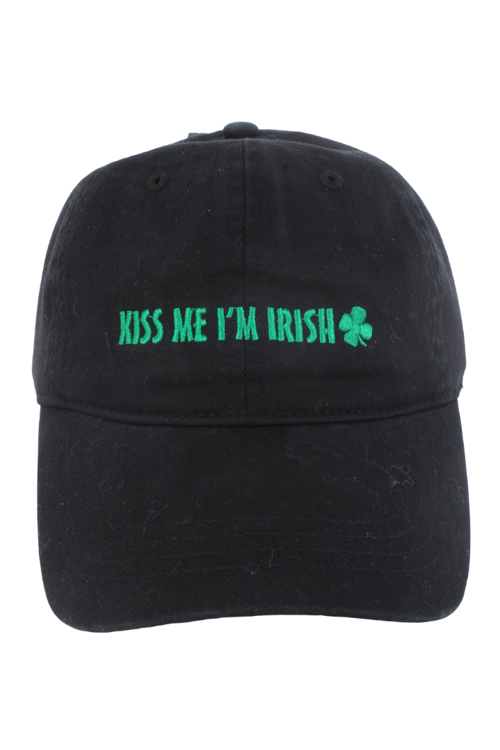 "FWCAP22171 - ""Kiss Me I'm Irish"" Embroidery Baseball Cap - David and Young Fashion Accessories"