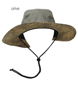 YSBU12 - Outdoor Hat with Leopard Underbrim - David and Young Fashion Accessories