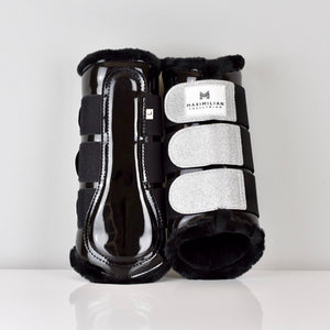 Gloss & Glitter Brushing Boots - Black/Silver