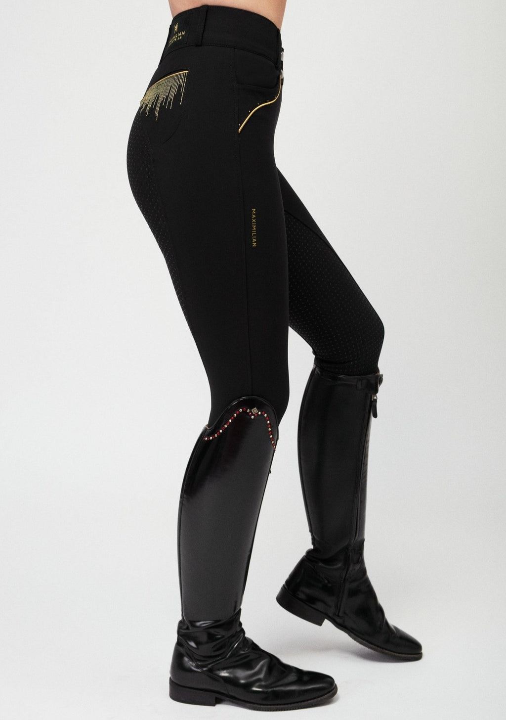 Vienna Full Grip Breeches - Black & Gold