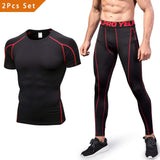 2 Pcs Men's Workout Set Short Sleeve - Niksa