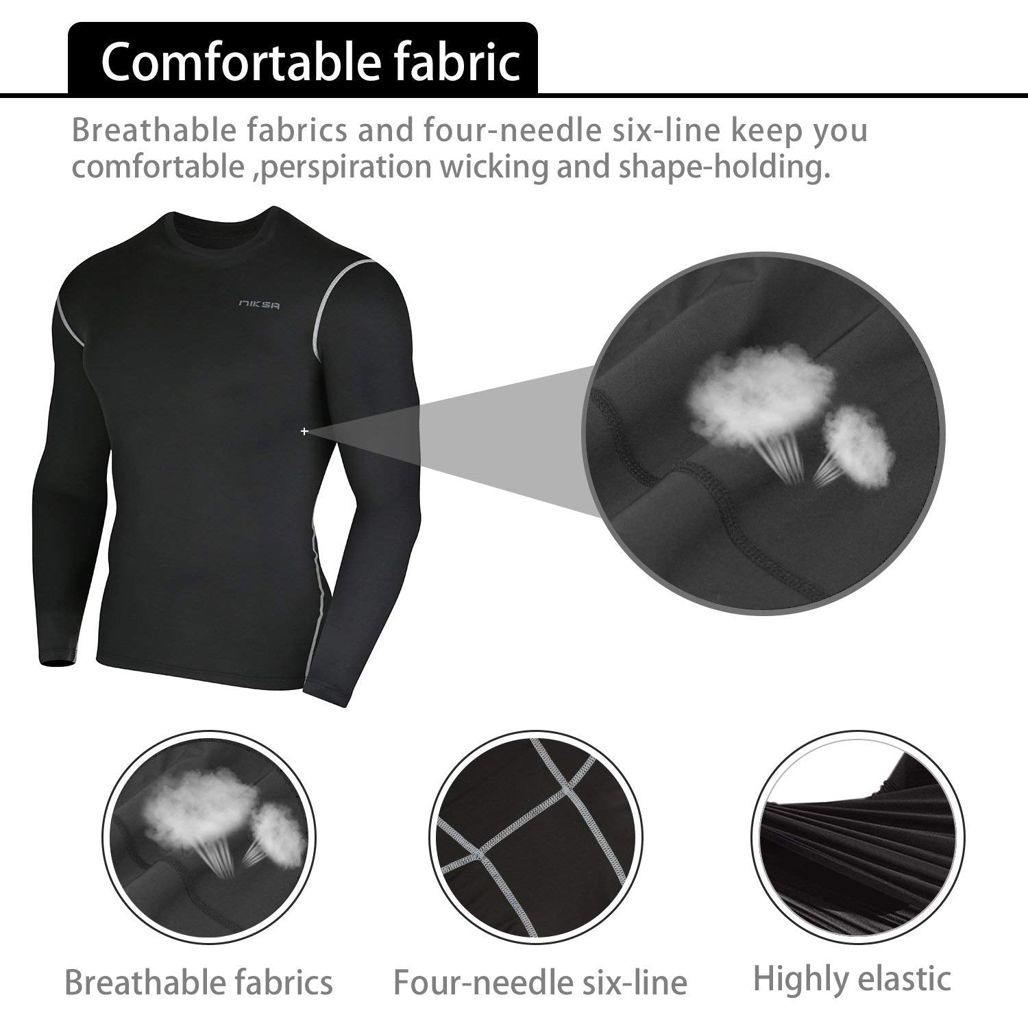 and Loose Fitting Shorts Black 3 Pcs Mens Workout Set with Long Sleeve Compression Shirt,Compression Pants