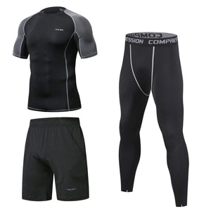 3 Pcs Men's Workout Set Short Sleeve - Niksa