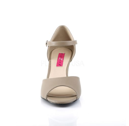 Taupe heel wedge by Pleaser