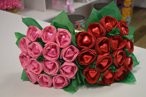 Chocolate Hearts & Roses Bouquet - Flower