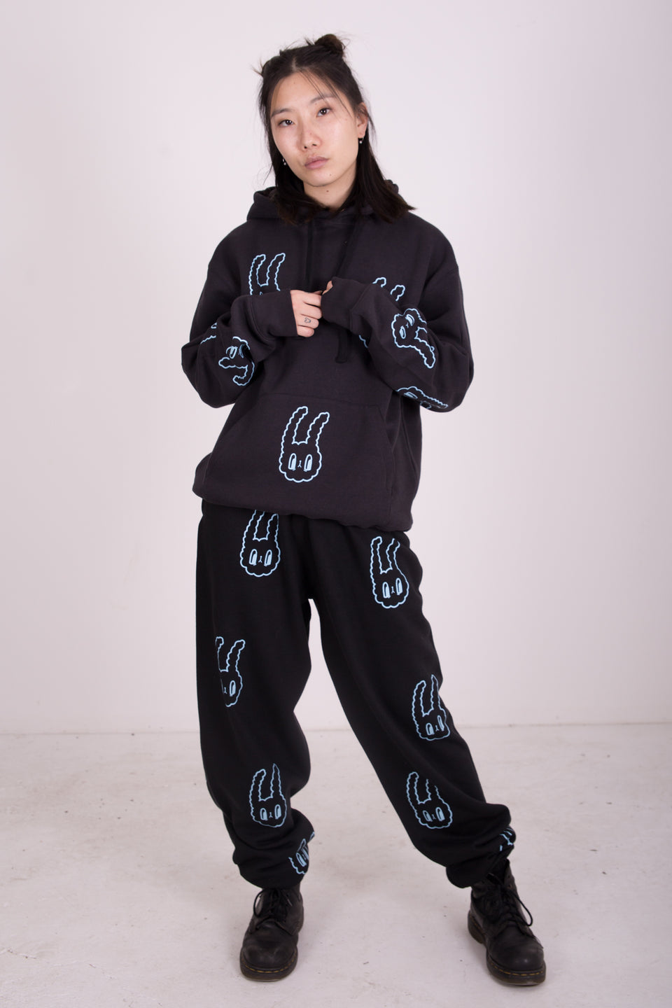 BUNNY BOY FULL TRACKSUIT - BLACK & BABY BLUE