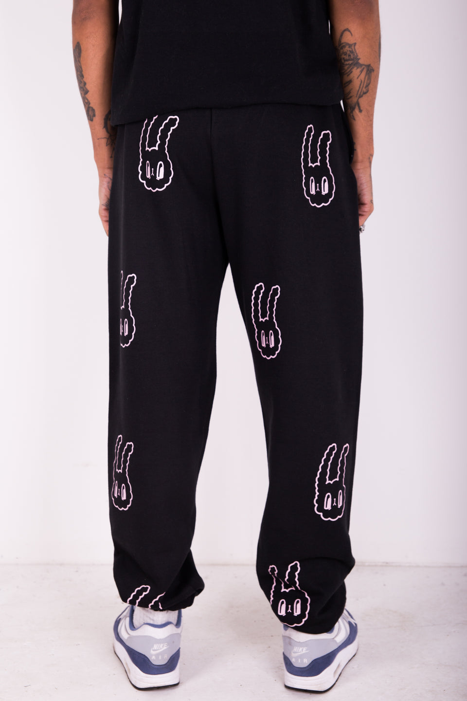 BUNNY BOY TRACKIE BOTTOMS - BLACK & PINK