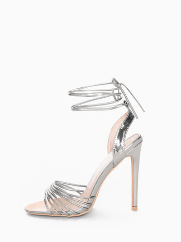 Strappy Metallic Silver Heeled Sandal