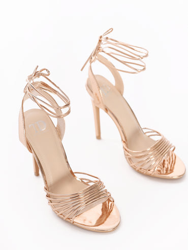 Strappy Metallic Rose Gold Heeled Sandal