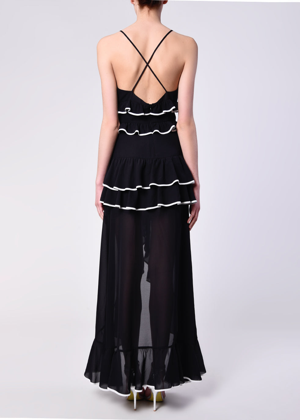 Black White Frill Cross Back Maxi Dress