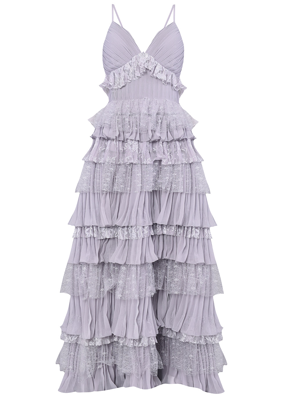 Lilac Grey Plunge Front Lace Tiered Ruffle Maxi Dress