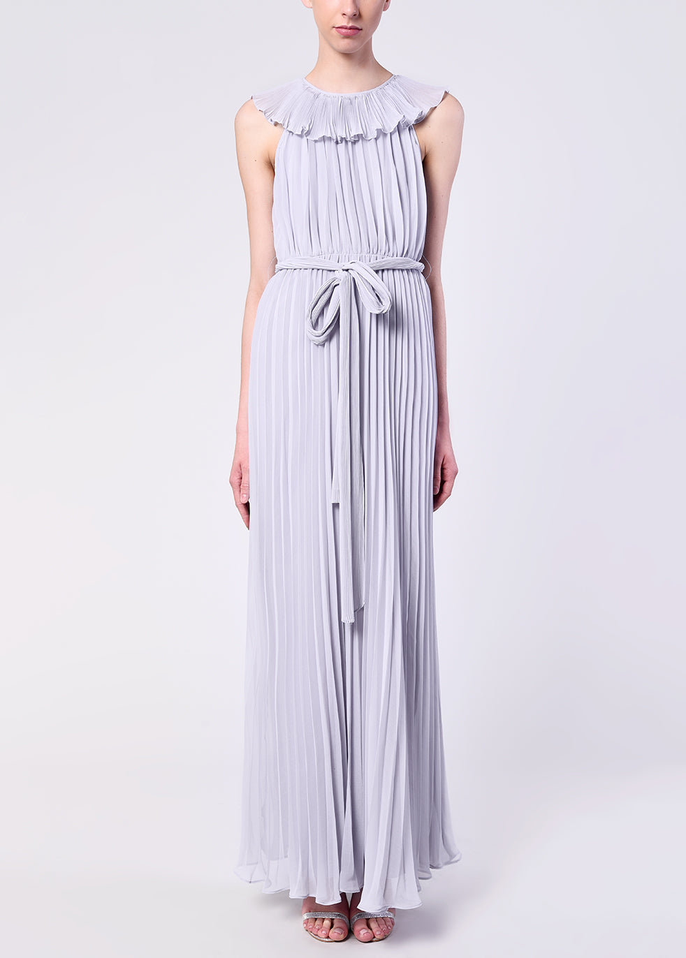 Lilac Grey Pleated Tie Waist Maxi Dress
