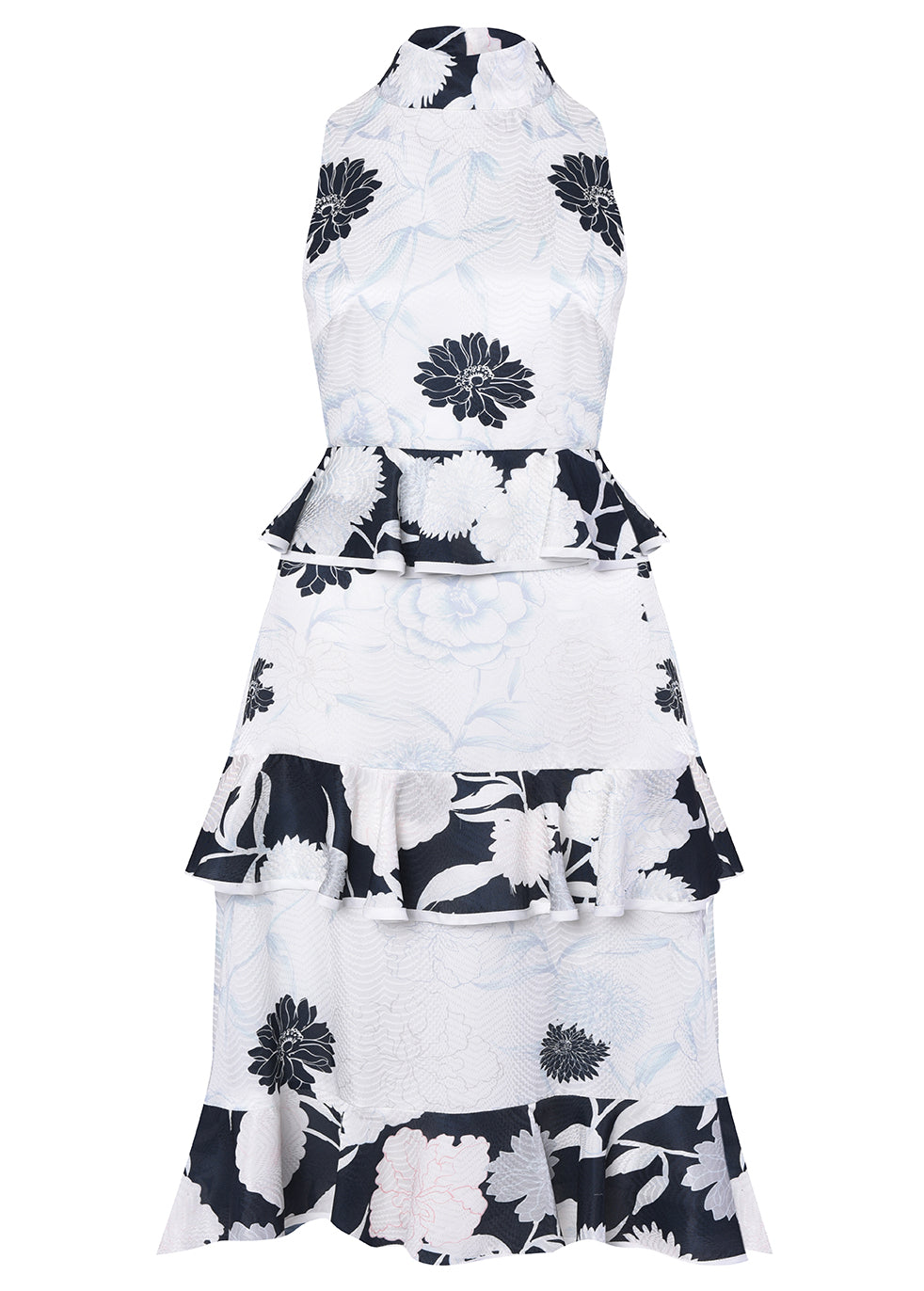 White Soft Floral Jacquard Tiered Midi Dress