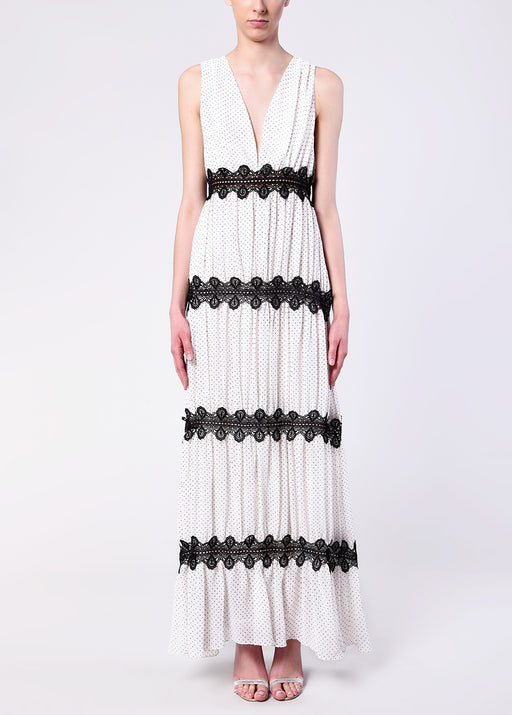 White Black Pin Spot Crochet Detail Maxi Dress