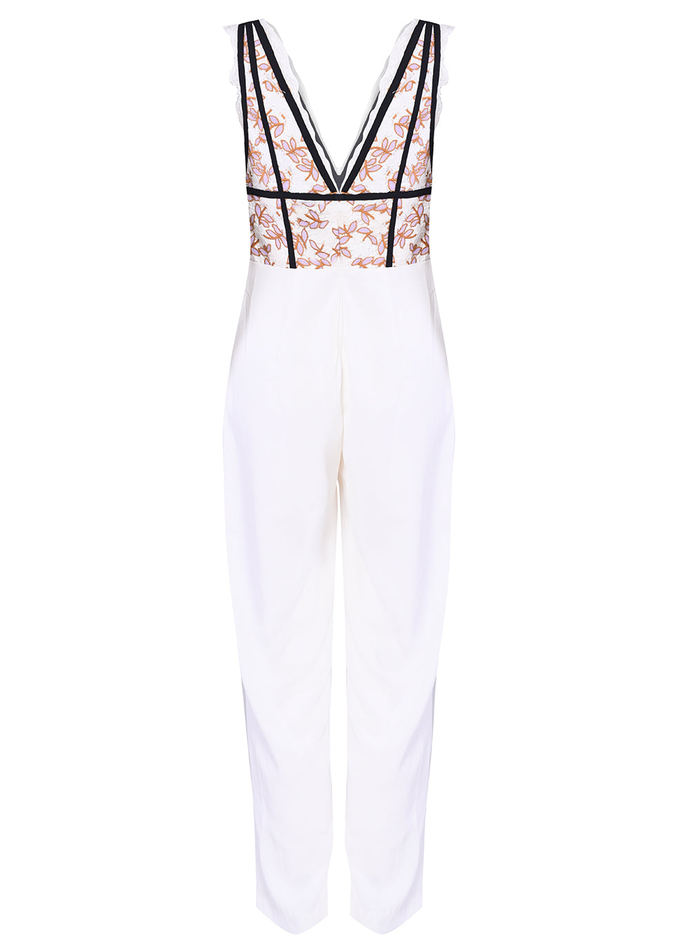 Lilac White Daisy Lace Plunge Front Jumpsuit