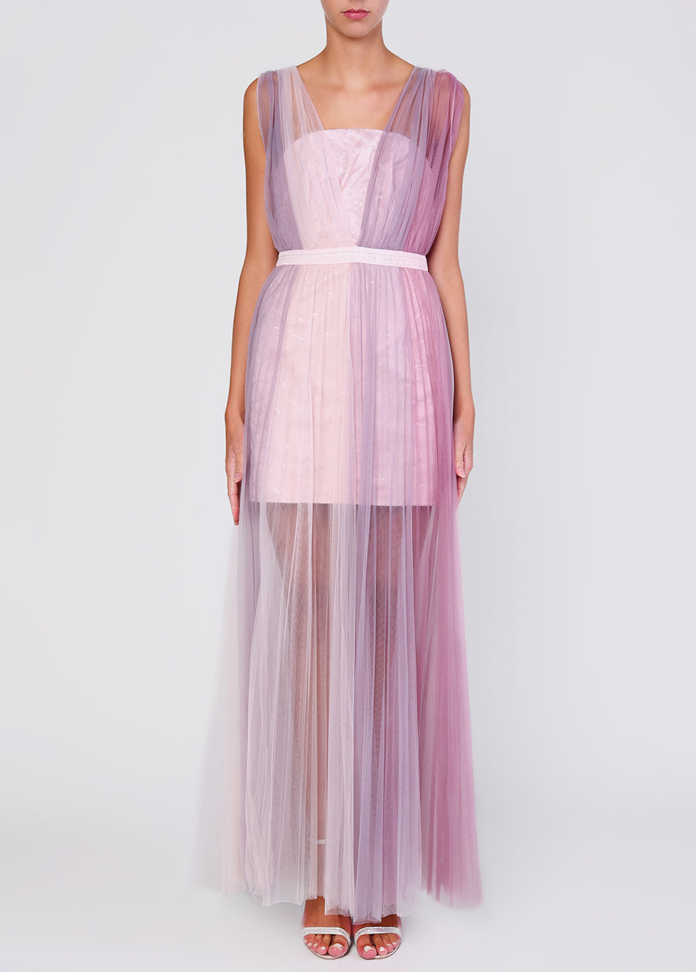 Lilac Ombre Tulle Maxi Dress